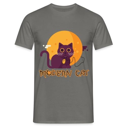 gatto moderno animale topo luna arte animale domestico - Maglietta da uomo