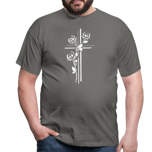 Roses On Cross - Herre-T-shirt