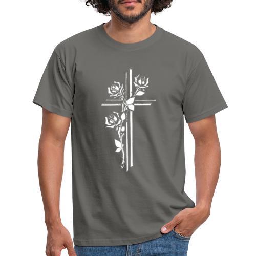 Roses On Cross - Herre-T-shirt