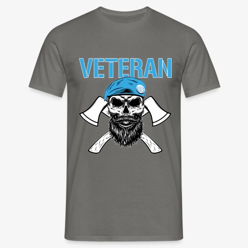 Veteran - Dödskalle med blå basker och yxor - T-shirt herr