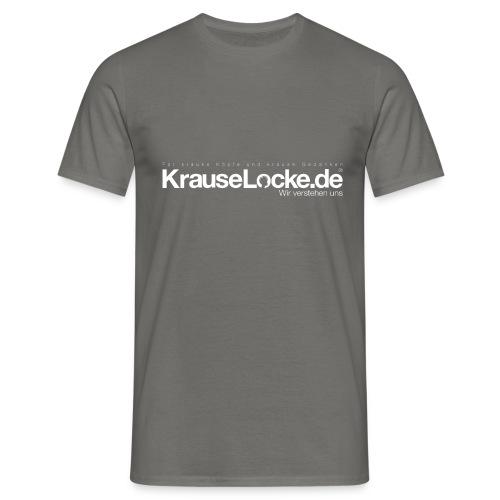 KrauseLocke Logo FINAL mit Claim weiss - Männer T-Shirt