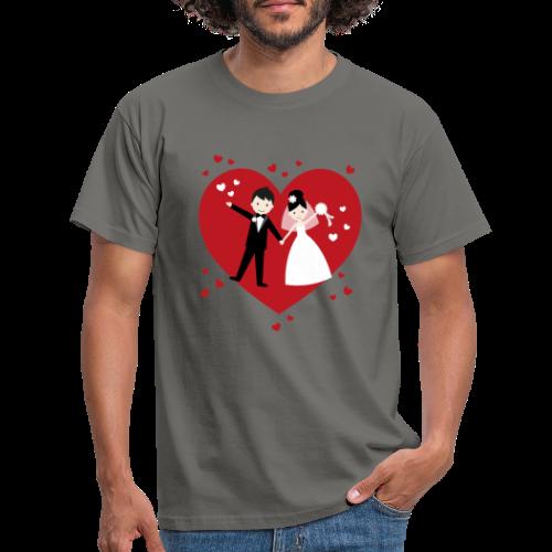 Hochzeitspaar mit vielen Herzen - Rot - Männer T-Shirt