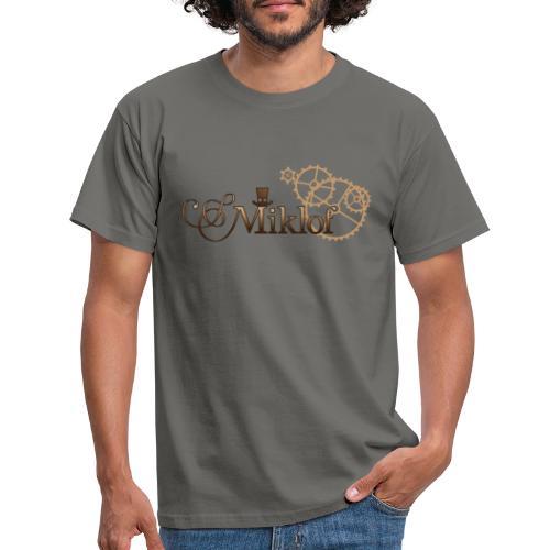 miklof logo gold wood gradient 3000px - Men's T-Shirt