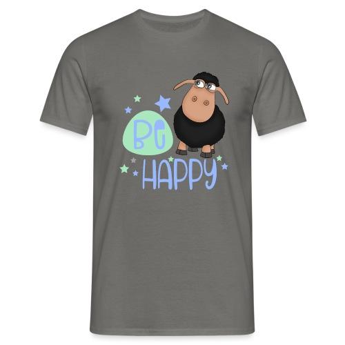 Schwarzes Schaf - Be happy Schaf - Glücksbringer - Männer T-Shirt