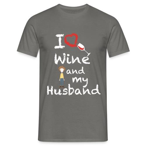 I love Red wine & my Husband Couples Pairs Wedding - Maglietta da uomo