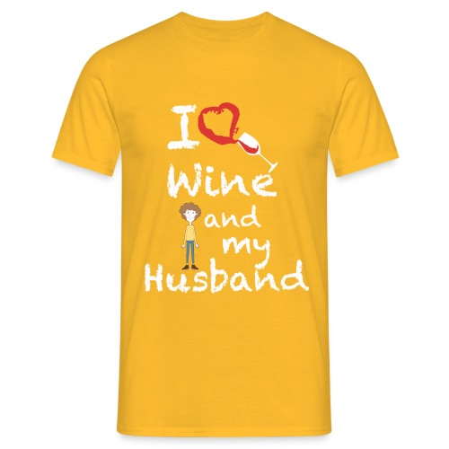 I love Red wine & my Husband Couples Pairs Wedding - Maglietta da uomo