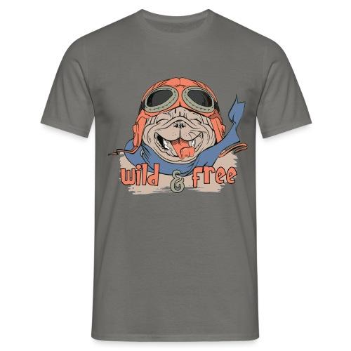 Wild & Free: Happy Pug Flier Freedom - Men's T-Shirt