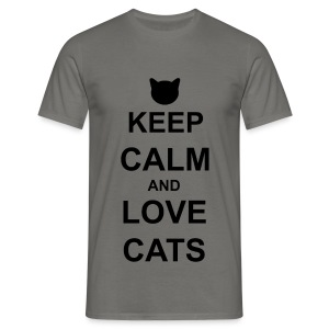 Keep Calm and Love Cats - Black - Men's T-Shirt