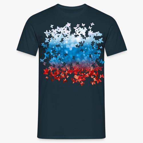 06 Russland Flagge Fahne Russia Schmetterlinge - Männer T-Shirt