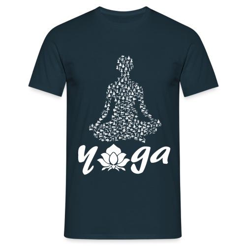 yoga fiore bianco namaste pace amore hippie fitness - Maglietta da uomo