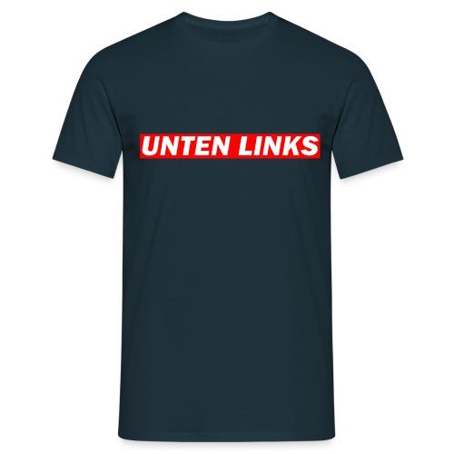Unten Links rotes Design - Männer T-Shirt