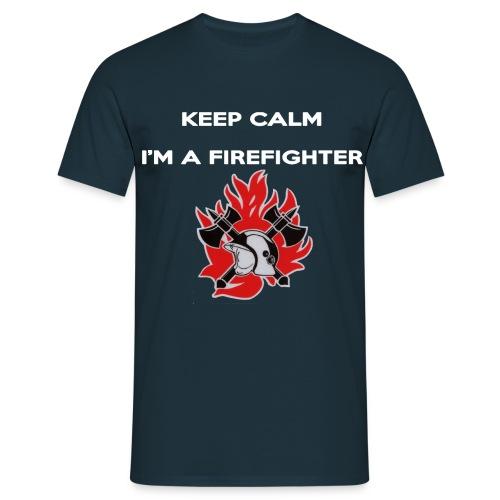 Keep calm i m a firefighter wit met logo - Mannen T-shirt