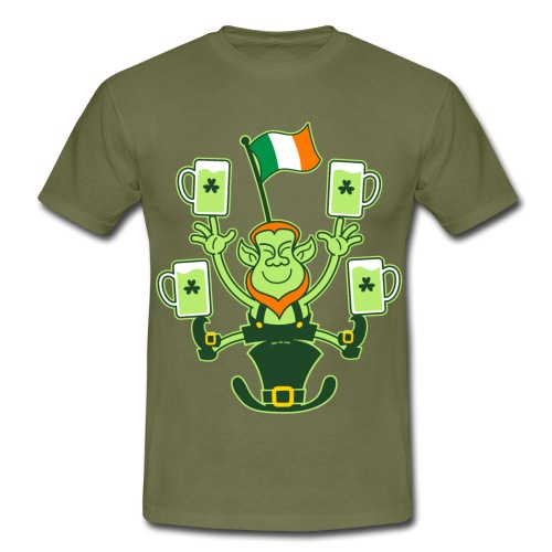 Leprechaun Juggling Beers and Irish Flag - Men's T-Shirt