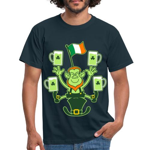 Leprechaun Juggling Beers and Irish Flag - Men's T-Shirt