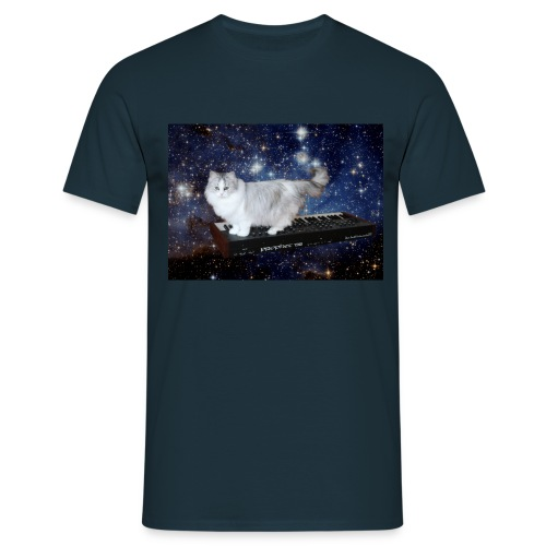 Cat on synthesizer in space p08 - Mannen T-shirt