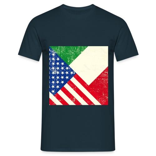 18147081 USA and Italian grunge Flag Stock Vector - T-shirt Homme
