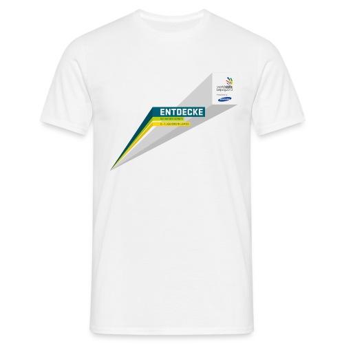 typobalken entdecke logo im kasten farb - Men's T-Shirt