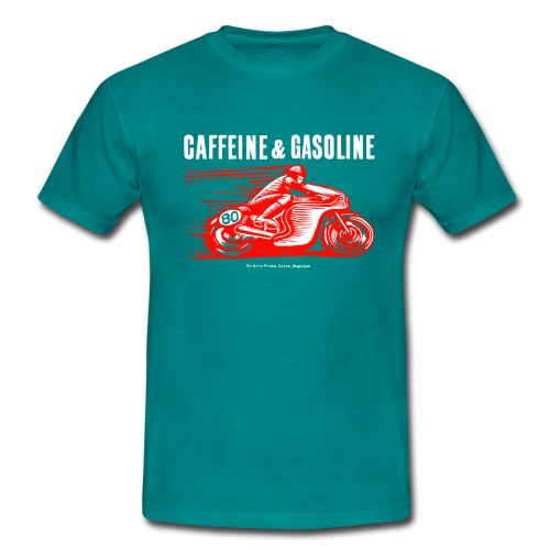 Caffeine & Gasoline white text - Men's T-Shirt