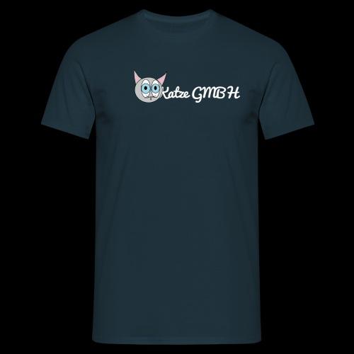Katze GMBH Logo mit Schriftzug (Weiss auf dunkel) - Männer T-Shirt