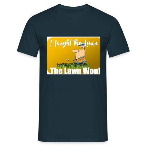 I fought the lawn cartoon - Men's T-Shirt