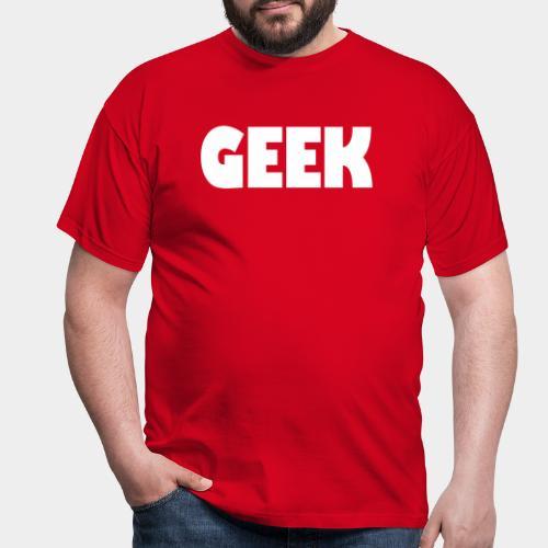 GEEK Text Logo White - Men's T-Shirt