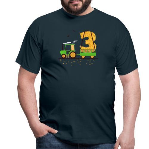 Traktor mit Anhänger 3. Geburtstag Geschenk Drei - Männer T-Shirt