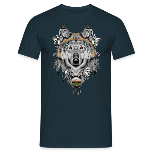 Wolf für Männer, Schrift Gold - Männer T-Shirt