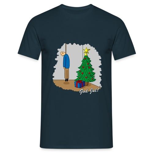 Cyniskt julmotiv - Ensam på julafton - Vit - T-shirt herr