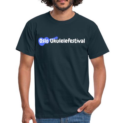 Oslo Ukulelefestival logo i hvitt og blått - T-skjorte for menn
