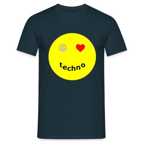 camiseta paz amor techno - Camiseta hombre