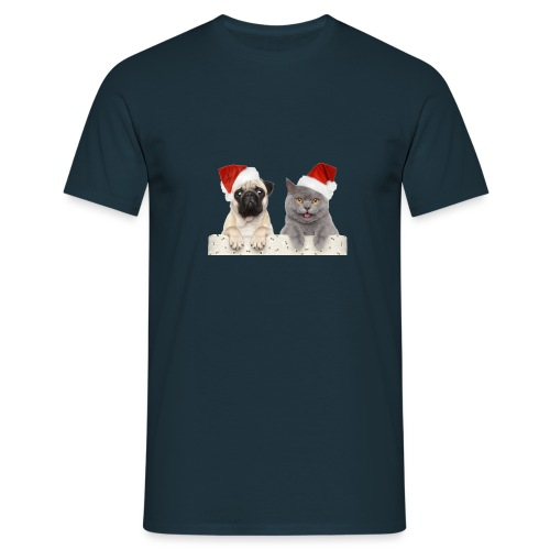 Cat and dog Christmas - T-shirt Homme