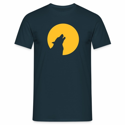 Wolf heult vor Mond Zähne wolve howling moon teeth - Männer T-Shirt