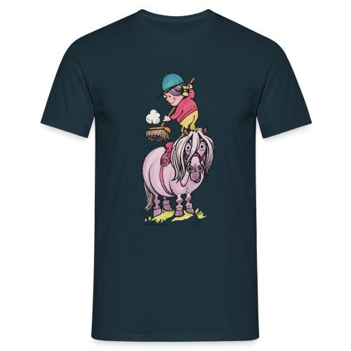 Thelwell Reiter Striegelt Pferd Mit Besen - Männer T-Shirt