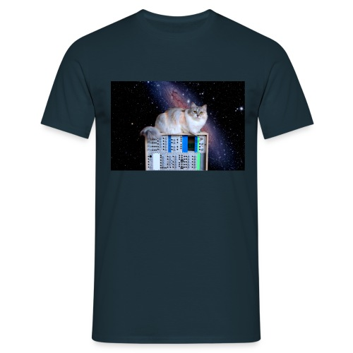 Cat on synthesizer in space EuroPaw - Mannen T-shirt