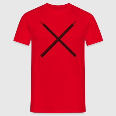 Gekreuzte Bleistifte Crossed Pencils - Männer T-Shirt