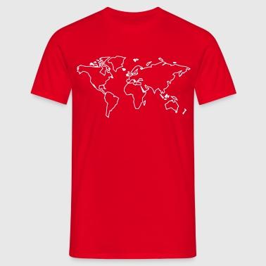 Världskarta - Värld - T-shirt herr
