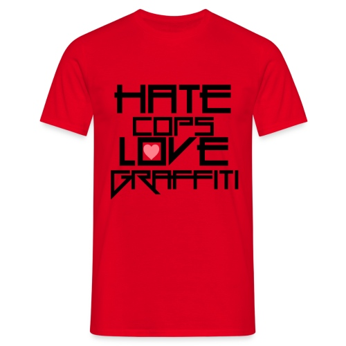 hate cops love graffiti black png - Männer T-Shirt