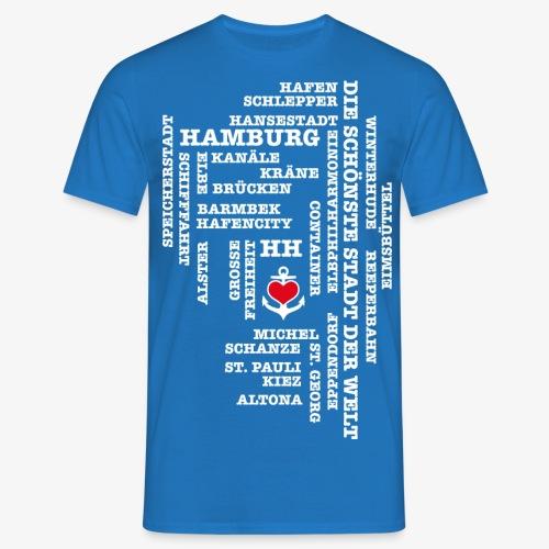 Hamburg Begriffe / Herz auf Anker / Text weiss - Männer T-Shirt