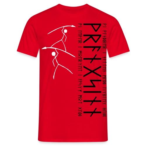 2 Hostile stickfigure cavemen with pointy sticks - Men's T-Shirt