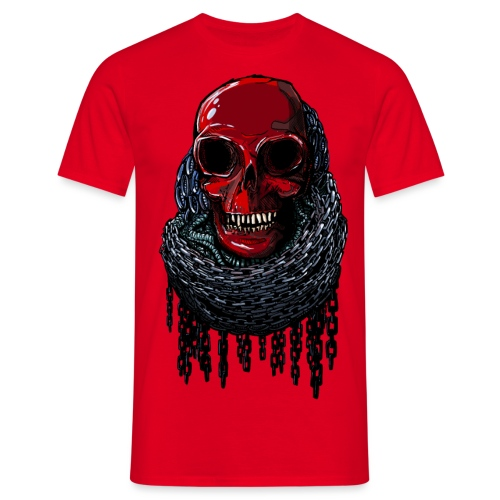 RED Skull in Chains - Men's T-Shirt