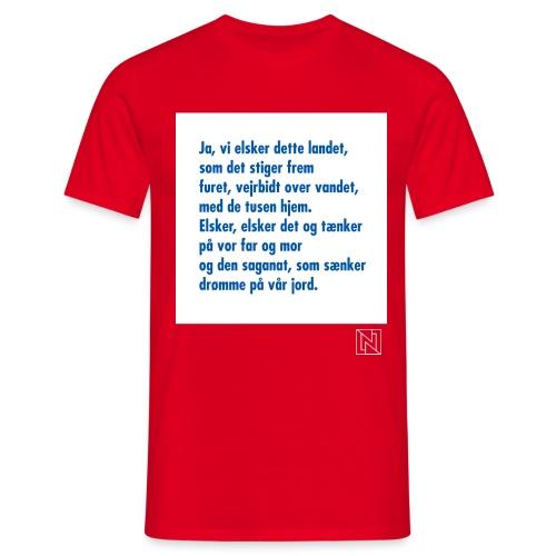 Første vers av «Ja, vi elsker dette landet» - T-skjorte for menn