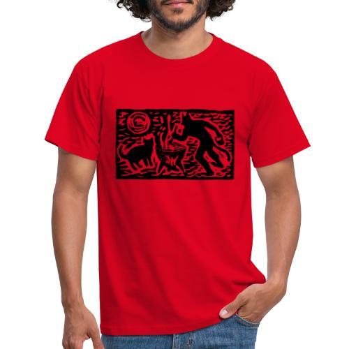 Teufel mit Katze - Männer T-Shirt