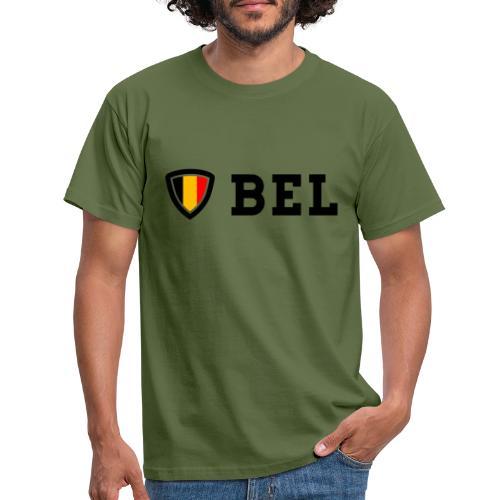 BEL Belgium Blason tricolore Football - T-shirt Homme