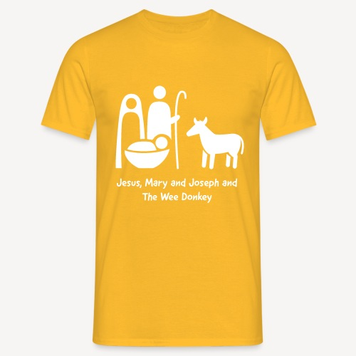 JESUS MARY AND JOSPEH AND THE WEE DONKEY - Men's T-Shirt