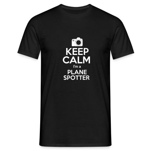 Keep Calm PlaneSpotterBIANCO - Maglietta da uomo