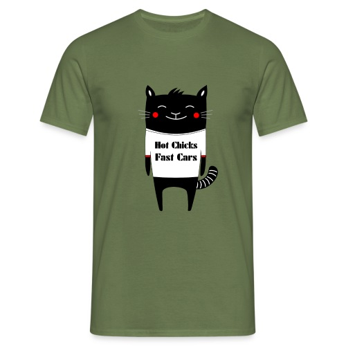 Cat Hot Chicks Fast Cars - Men's T-Shirt