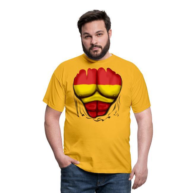 Mens SPAIN Patriotic T-Shirt Spanish Flag Ripped Style Espana Gift Top