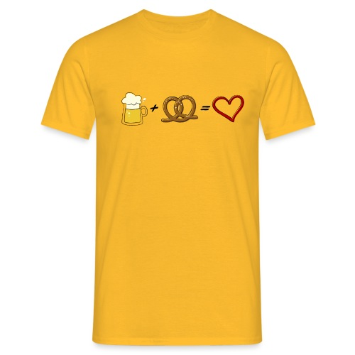 pretzel + beer = love - Men's T-Shirt