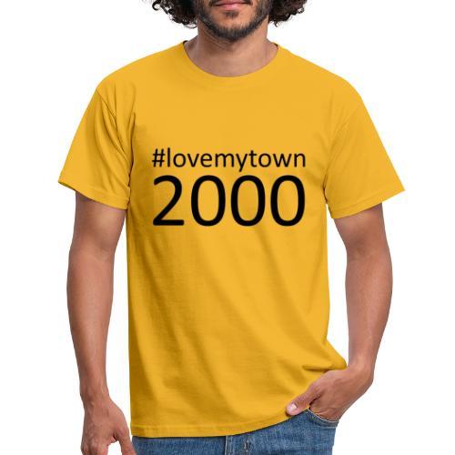 lovemytown2000zwart - Mannen T-shirt
