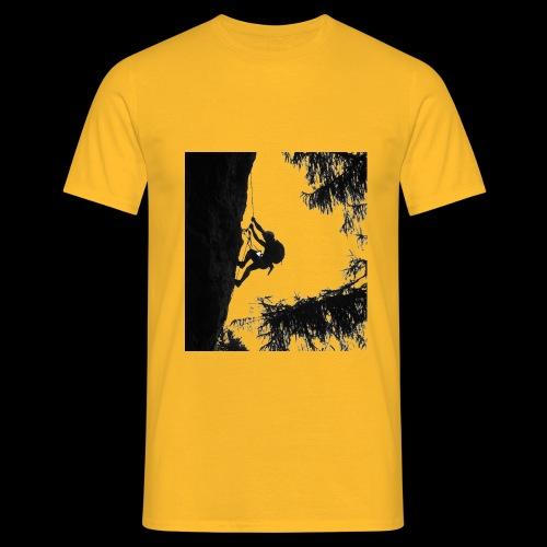 Kletterer an der Wand schwarz weiss - Männer T-Shirt